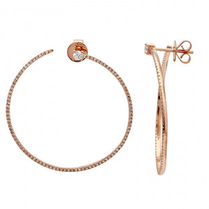 Ring Around Hoops 14k Rose Gold Diamond Earrings