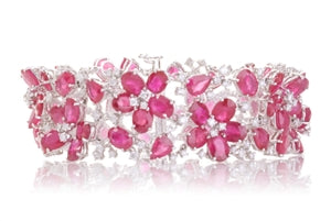 RUBY FLOWERS ON HER WRIST - RUBY & DIAMOND FLORAL BRACELET