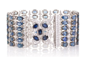 STAR LINE BRACELET - 1930's OLD CUT SAPPHIRE & DIAMOND DOUBLE ROW 14K WHITE GOLD TENNIS BRACELET