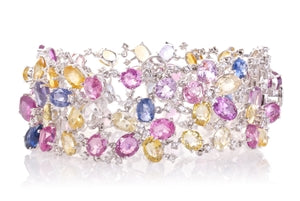 MULTI COLORED GOLD SAPPHIRE & DIAMOND BRACELET