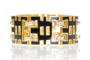 18K YELLOW GOLD GEOMETRIC BLACK ENAMEL & DIAMOND BRACELET