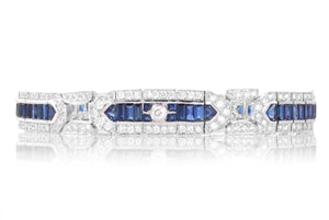 PLATINUM AND GOLD SAPPHIRE & DIAMOND BRACELET
