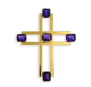 CARTIER GOLD & AMETHYST CROSS PENDANT