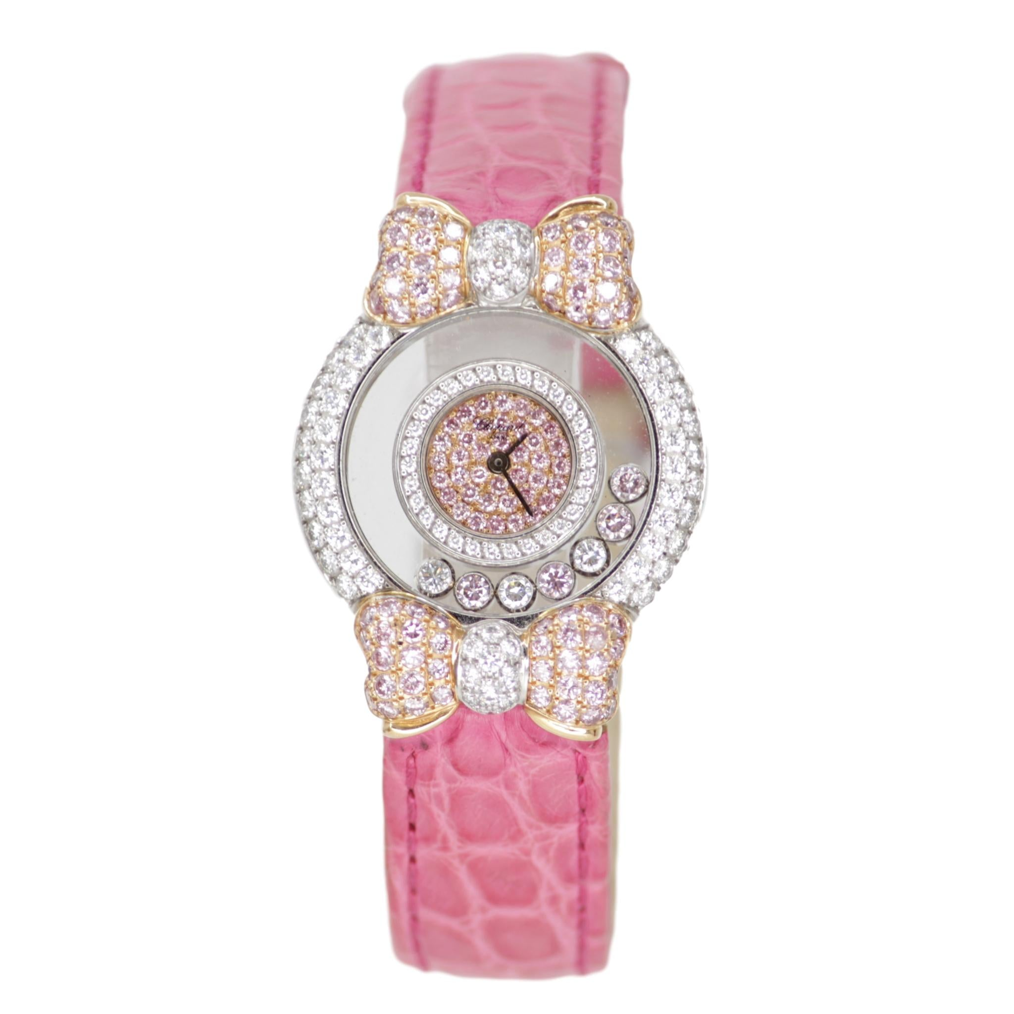 "Chopard 18k White Gold White and Pink Diamond Rare ""Happy Diamonds"" Pink Hello Kitty Ladies Watch with Bows"