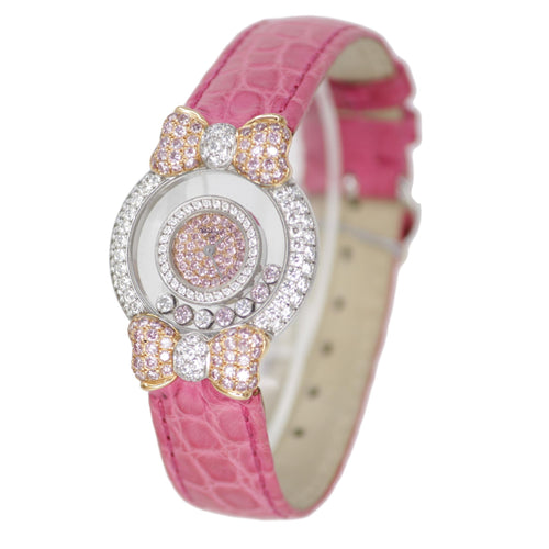 "CHOPARD WHITE GOLD ""HAPPY DIAMONDS"" PINK LADIES WATCH"
