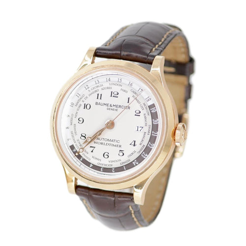 Baume & Mercier Capeland MOA 10107 Watch with Leather Bracelet and 18k Rose Gold Bezel