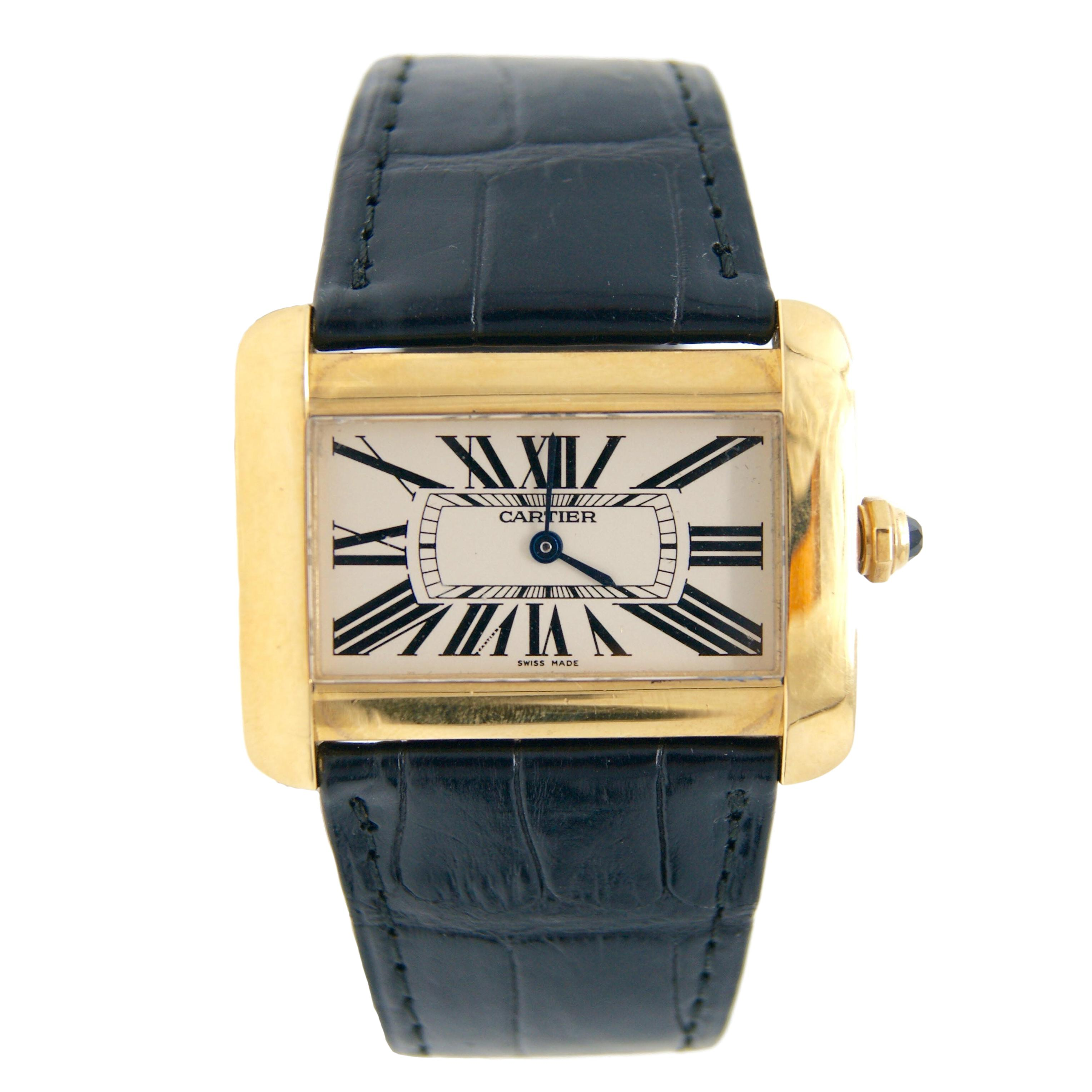 Cartier Tank Divan XL 18k Yellow Gold Watch With Black Crocodile Band