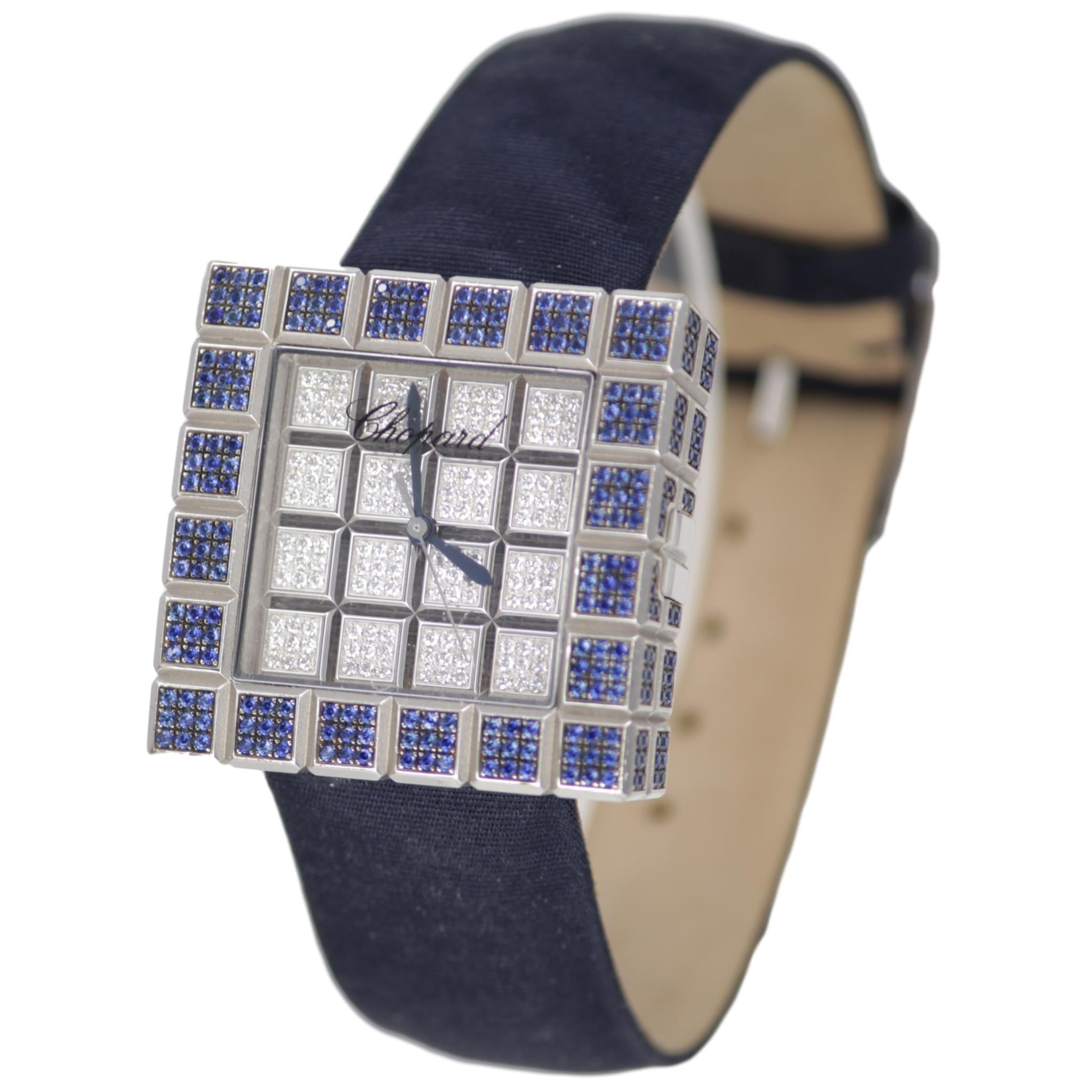 Chopard Blue Sapphire Ice Cube Ladies Watch 18k White Gold and Blue Satin