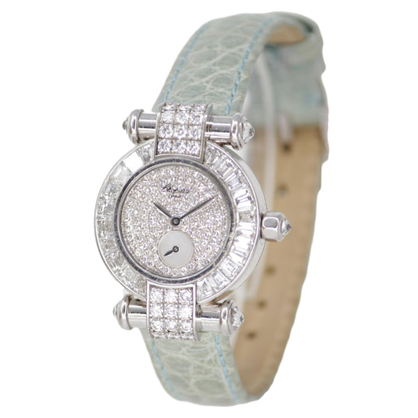 Chopard Imperiale Watch Diamond 18k White Gold Light Blue Crocodile Strap Round Face