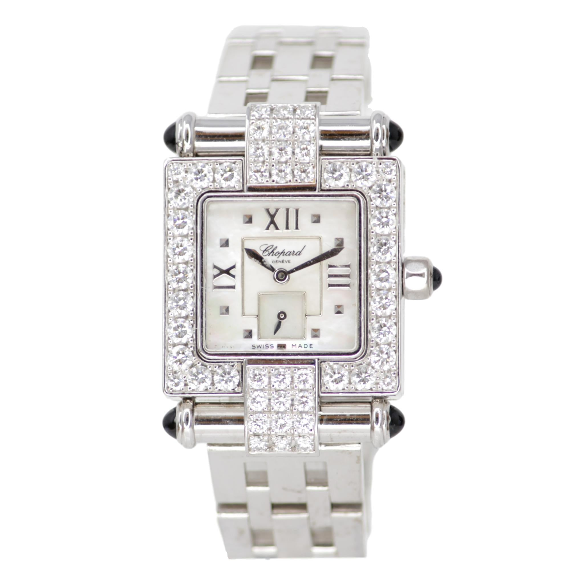 Chopard Imperiale Watch 18k White Gold with Diamond Bezel Metal Strap Square Face