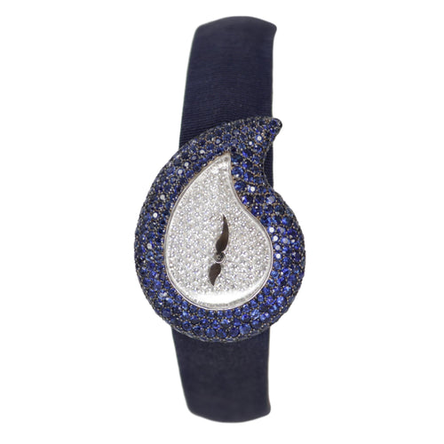 Chopard 18k White Gold Teardrop Diamond and Sapphire Ladies Evening Watch