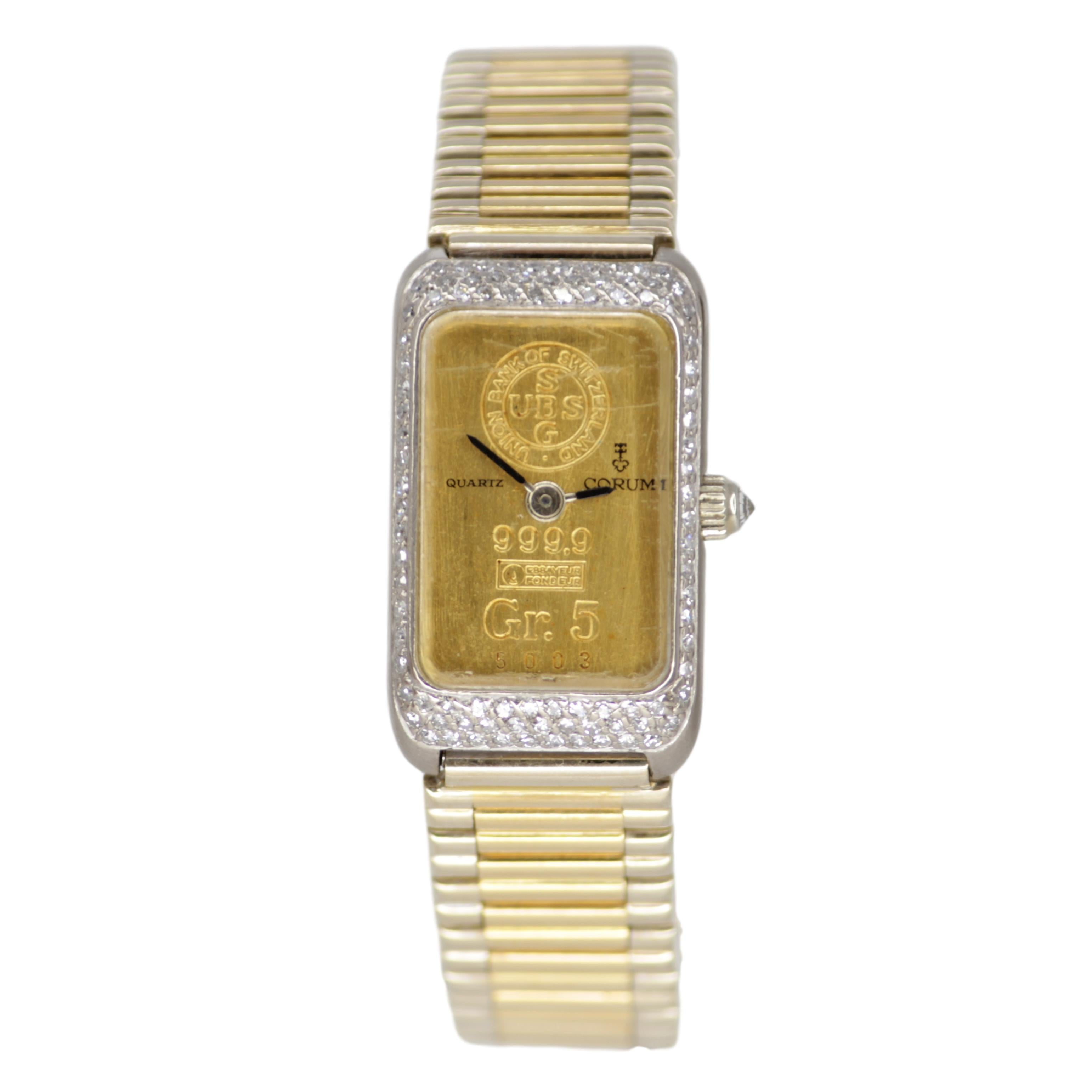Corum Ingot Gold Bar Ladies 18k Yellow Gold Watch