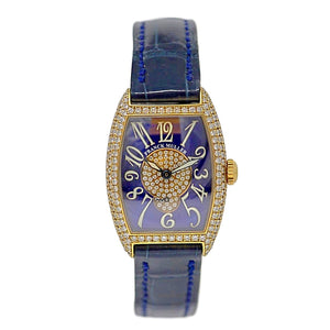 Franck Muller Cintree Curvex Ladies Diamond Watch 18K Yellow Gold
