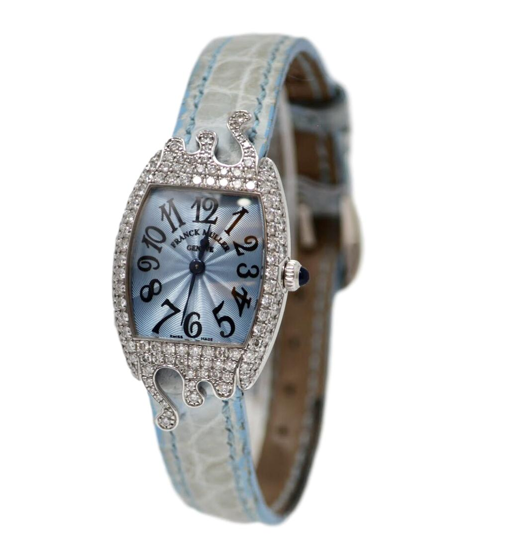 Franck Muller 18kt White gold ladies diamond watch with baby blue face and strap