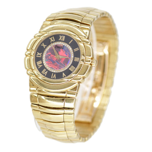 Piaget Tanagra 18k Gold Opal Diamond 33mm Watch 95041