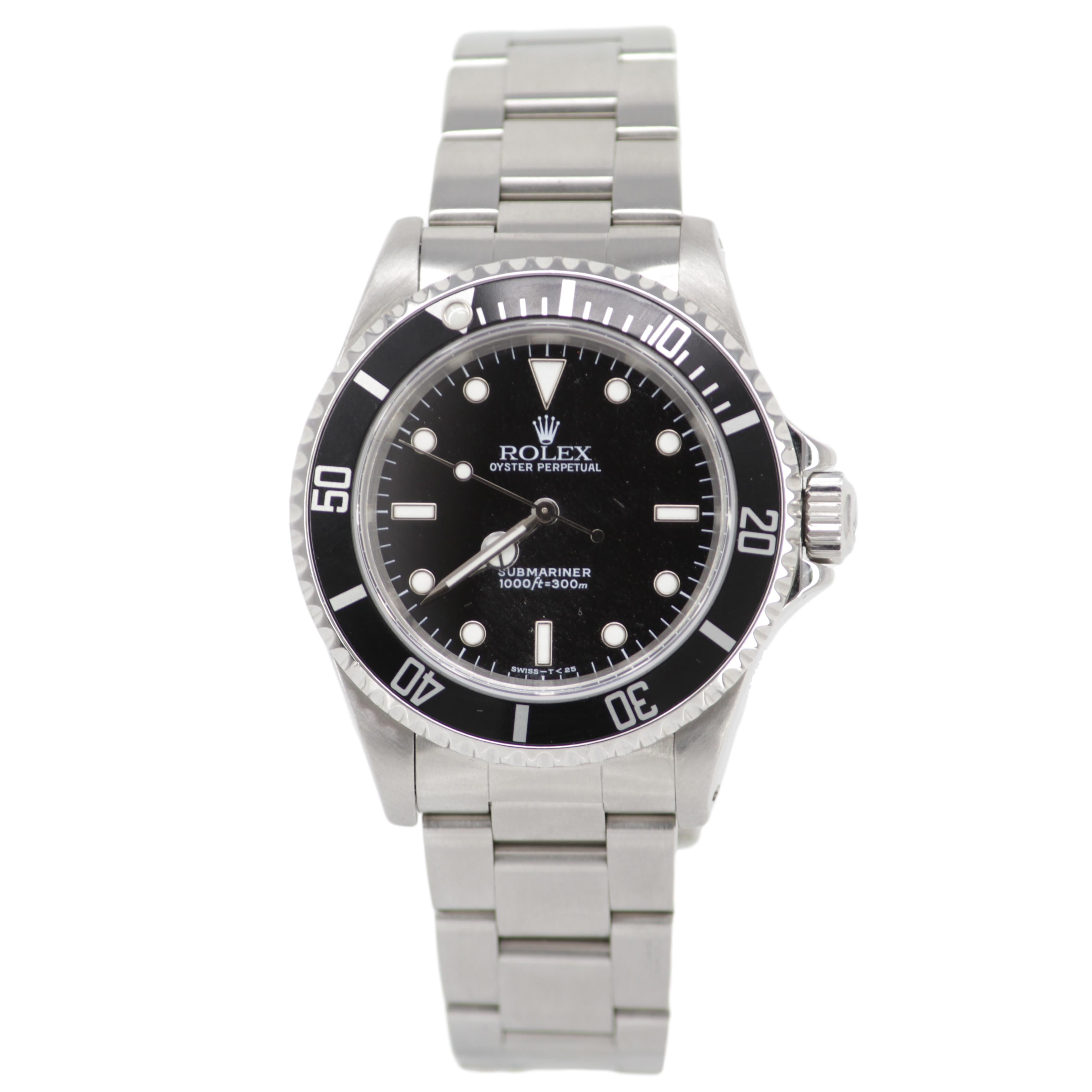 Rolex Oyster Perpetual Submariner 1996 Men's Watch No Date Rotating Bezel Stainless Steel