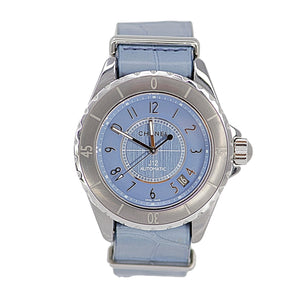 Chanel J12 Chromatic Ceramic G10 Automatic Light Blue and Silver Watch With 2 Bands