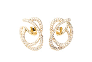 CHANEL GOLD DIAMOND SWIRL EARRINGS