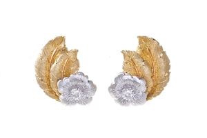 18K BUCCELLATI GOLD & DIAMOND FLOWER EARRINGS