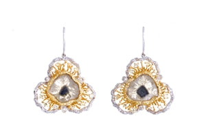 14K GOLD FLORAL TWO TONE DIAMOND EARRINGS
