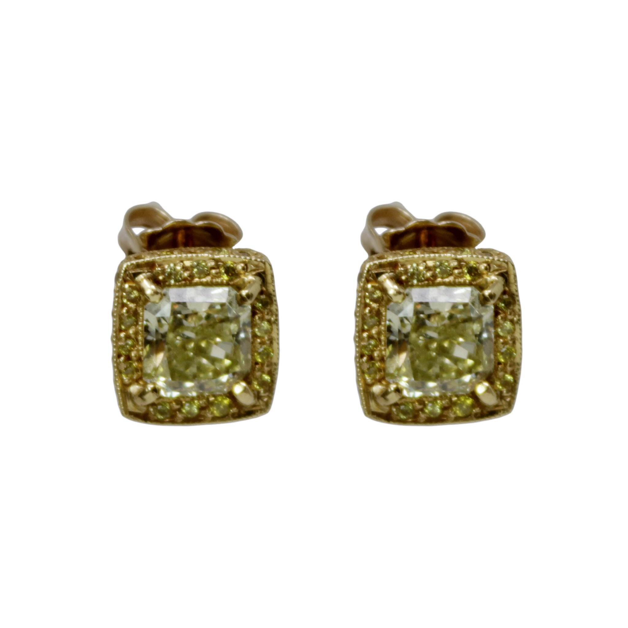 Yellow Radiant Diamond Stud Earrings - and Yellow Halo Diamond Setting 18k Yellow Gold
