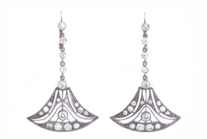 ANTIQUE GOLD DIAMOND CHANDELIER EARRINGS
