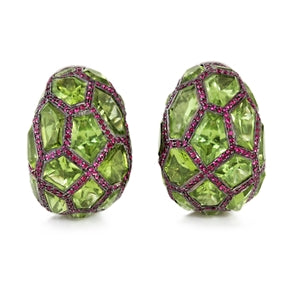 DE GRISOGONO GOLD PERIDOT & PINK SAPPHIRE EARRINGS