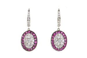 18K GOLD PINK SAPPHIRE & DIAMOND DANGLE EARRINGS