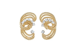 14K GOLD 'LASSO' SHAPED DIAMONDS EARRINGS