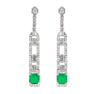 PLATINUM EMERALD & DIAMOND ART DECO EARRINGS
