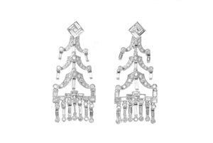 I Am The Art Earrings - Antique Platinum Onyx and Diamond Art Deco Long Drop Geometric Earrings