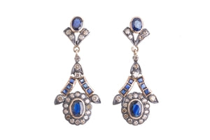 18K SAPPHIRE & DIAMOND DROP EARRINGS