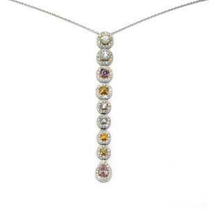 2.50 Carats Multicolor Natural Diamonds Pendant on Chain