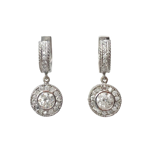 She Dances Amongst The Stars - 14k White Gold and Diamond Hoop Drop Earrings