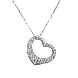 Tiffany & Co. by ELSA PERETTI Open Heart Diamond Pendant - Platinum
