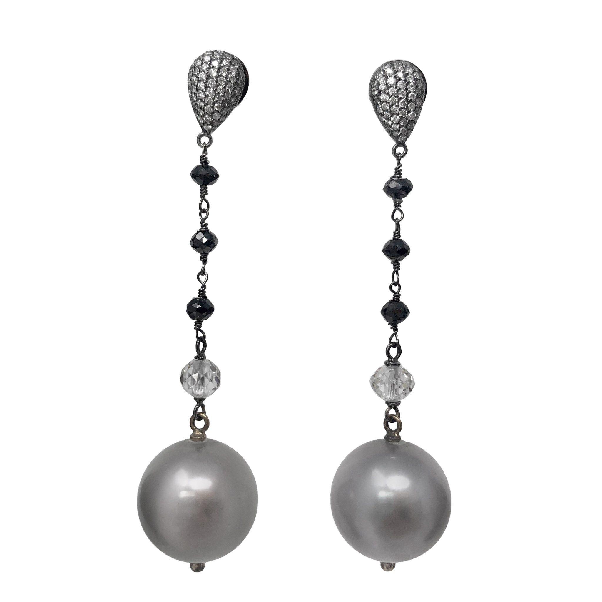 Beaudry - Untamed Beauty - Diamond and Pearl Long Drop Earrings