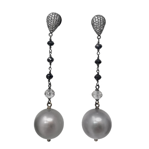 Platinum Michael Beaudry Pearl Earrings