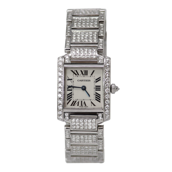 Cartier Tank Francaise White Gold with Diamonds Size Small Ladies Watch