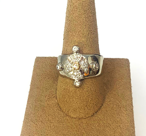 Celtic Band - Platinum And 18k Rose Gold Diamond Cross Men's Ring Size 9.50