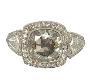 Legendary Love Engagement Ring - Fancy Large 5 ct Gray Diamond Antique Ring GIA