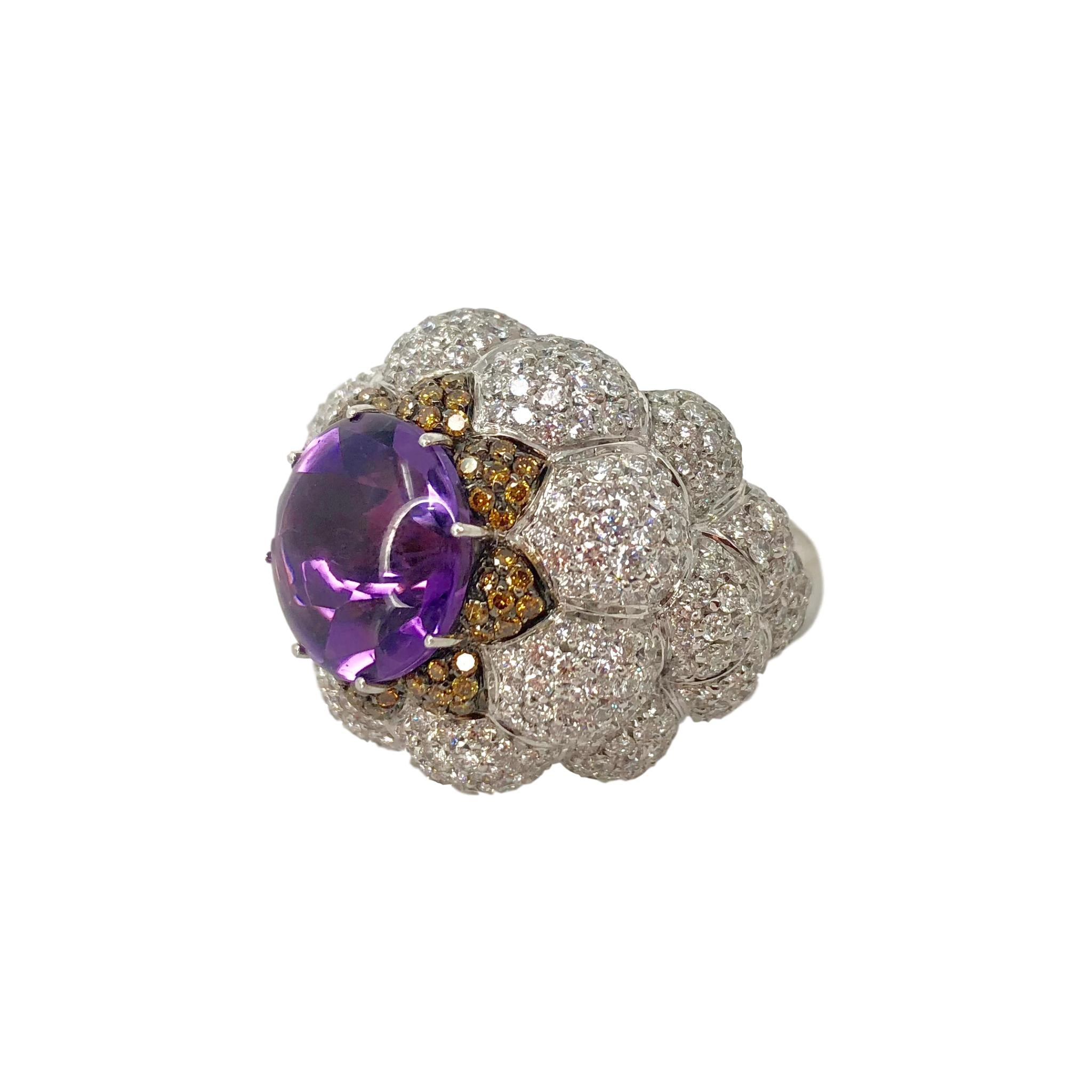 Purple Royalty Ring - 18k White Gold Palmiero Amethyst and Diamond Dome Flower Cocktail Ring