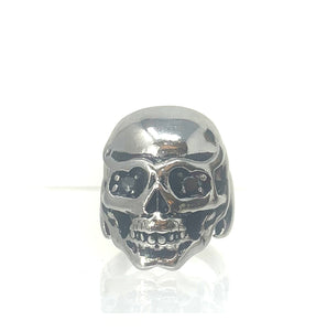 Raising Hell Band - Skeleton Skull Stainless Steel and Black Diamond Size 11 Men's Ring