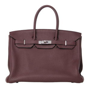 Hermes Birkin Leather Togo Evercolor 35 Burgundy Red Purse Handbag