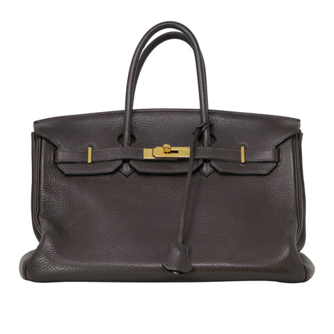 Hermes Birkin Togo Leather Chocolat 35 2005 Chocolate Brown Purse Handbag