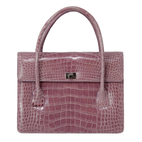 Lambertson Truex Purple Alligator Handbag Medium Size