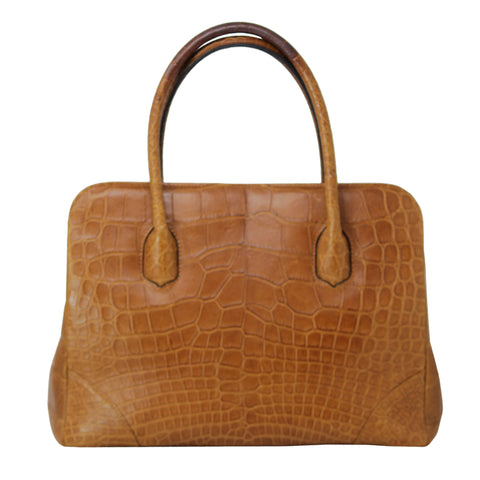 Lana Marks Brown Alligator Hand bag Purse Medium Size