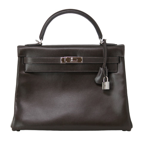 Hermes Kelly Box Leather Chocolate Purse Bag