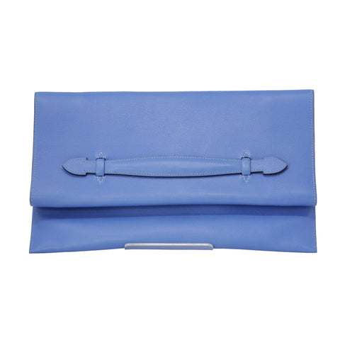 Hermes Pliplat Mysore Calfskin Purse Clutch Bag Brighton Blue