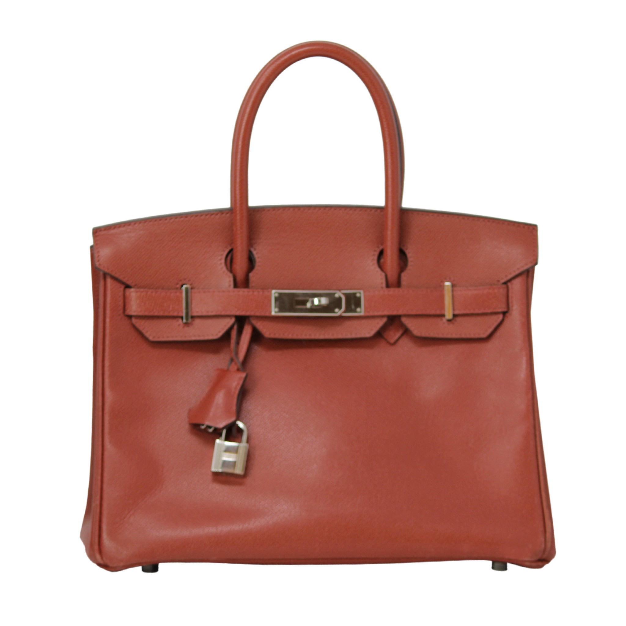 Hermes Birkin Rare Rust Color Clemence Leather Purse Bag