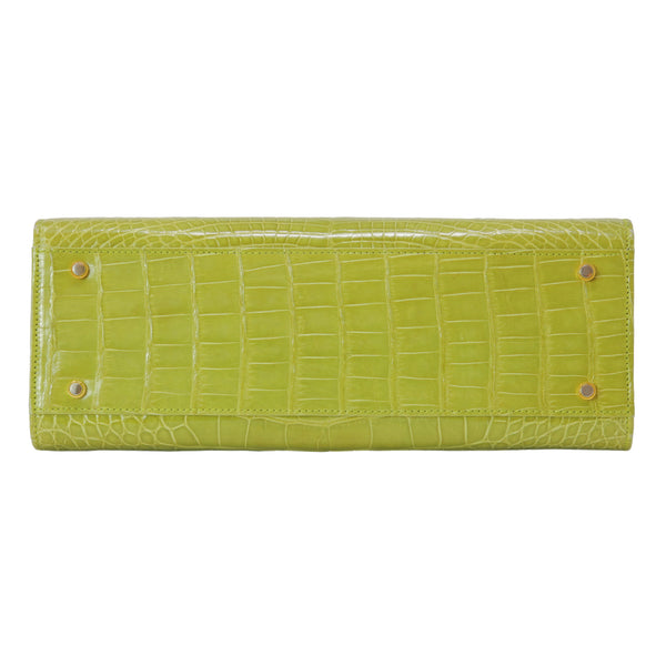 Lana Marks Lime Green / Chartreuse Alligator Purse Handbag Medium Size